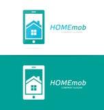 Combinación del logotipo de la casa y del teléfono del vector Propiedades inmobiliarias y símbolo o icono móvil Apartamento y age Imagen de archivo libre de regalías