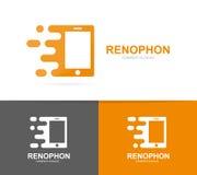 Combinación elegante rápida del logotipo del teléfono del vector Símbolo o icono móvil de la velocidad Diseño social y digital ún stock de ilustración