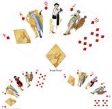 Combinación que gana del póker de los diamantes de la escalera real Imagen de archivo libre de regalías
