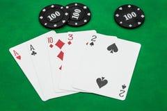 Combinaciones de las ganancias de juego del póker, par de la tarjeta-tabla imágenes de archivo libres de regalías