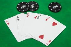 Combinaciones de las ganancias de juego de la tarjeta-tabla del póker, casa llena imagenes de archivo