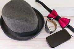 Combinaciones posibles de los accesorios masculinos Fotos de archivo libres de regalías