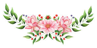 Combinaison avec du charme d'aquarelle peinte à la main des fleurs et des feuilles d'isolement sur le fond blanc Image stock
