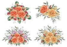 Combinaison avec du charme d'aquarelle peinte à la main des fleurs et des feuilles, d'isolement sur le fond blanc Images stock