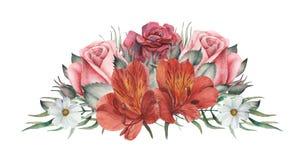 Combinaison avec du charme d'aquarelle peinte à la main des fleurs et des feuilles d'isolement sur le fond blanc Photos stock