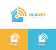 Combinaison de logo d'immobiliers et de wifi Chambre et symbole ou icône de signal Loyer unique et radio, conception de logotype  Photos stock