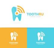 Combinaison de logo de dent et de wifi Symbole ou icône dentaire et de signal Clinique et radio uniques, conception de logotype d Images stock