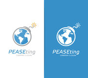 Combinaison de logo de la terre et de bombe de vecteur Globe et symbole ou icône de terrorisme Conflit unique, monde, global, éco Image libre de droits