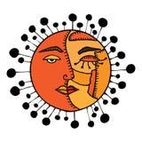 Combinaison de Sun et de lune illustration de vecteur