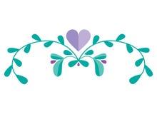 Combinaison mignonne de vecteur avec les éléments et les branches floraux tirés par la main Conception simple élégante Illustrati Images libres de droits
