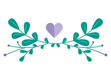 Combinaison mignonne de vecteur avec les éléments et les branches floraux tirés par la main Conception simple élégante Illustrati Photos libres de droits