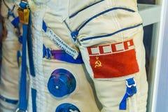 Combinaison spatiale russe d'astronaute dans le musée d'espace de St Petersbourg Photographie stock libre de droits