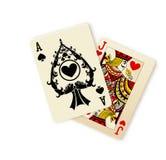 Combinação dos cartões de jogo de Black Jack Imagens de Stock Royalty Free