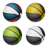 Combinated color basketballs. Isolated on white Stock Photos