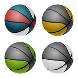 Combinated color basketballs. Isolated on white Royalty Free Stock Photo