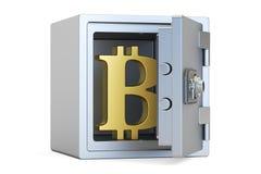Combinatie veilige doos met symbool van bitcoin, het 3D teruggeven Stock Foto