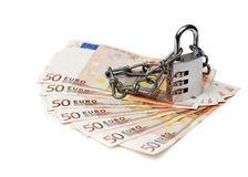 Combinatieslot en euro Stock Foto's