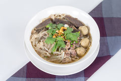 Combination Beef Noodle with beef ball, beef tripe, beef liver Stock Photos