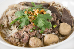 Combination Beef Noodle with beef ball, beef tripe, beef liver Stock Photo