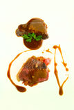 Combination beef steak with two sauces Stock Image