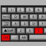 Combination of buttons to copy. Keyboard ctrl C, combination key, fast  and quickly command. Vector graphic illustration Royalty Free Stock Photos