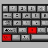 Combination of buttons to cut. Keyboard ctrl X, combination key, fast  and quickly command. Vector graphic illustration Stock Photos