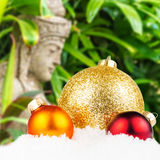 Combination of christmas motivated front with blurred typical ba royalty free stock photography