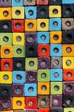 Combination colorful ceramic cube box texture surface background. Rough combination colorful ceramic cube box texture surface wall background with daylight Stock Photo