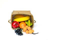 Combination fruits in the burlap box Royalty Free Stock Photo