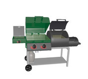 Combination gas grill and smoker Stock Image