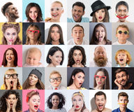 Combination of happy and shocked people Royalty Free Stock Photography