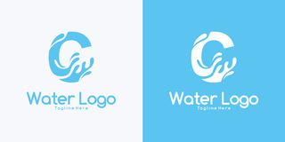 Combination letter C and Water logo design concept. Combination letter C and Water logo design vector illustration