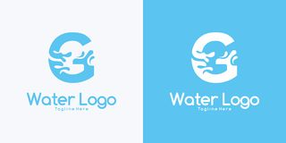 Combination letter G and Water logo design concept. Combination letter G and Water logo design royalty free illustration