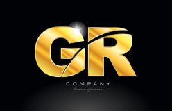 Combination letter gr g r gold golden alphabet metal logo icon design. Combination letter gr g r gold golden alphabet logo icon design with metal look on black royalty free illustration