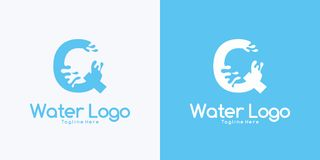 combination letter Q and Water logo design concept vector illustration