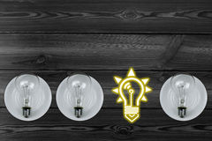 Combination of light bulbs Stock Images