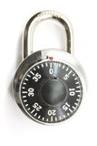 Combination Lock. A combination secure lock on a white background Stock Images