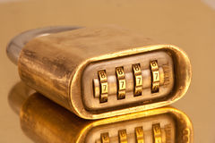 Combination lock. Closed and locked combination lock Stock Photos