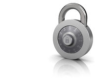 Combination lock. 3d illustration of combination lock at right side of white background stock illustration