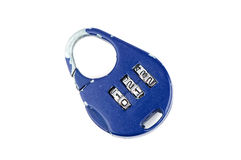 Combination lock. Blue handled combination lock isolated over white Stock Photo