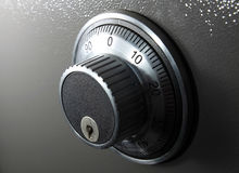 Combination Lock. Combination safe lock showing number and key hole inhorizontal frame Royalty Free Stock Photos