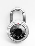 Combination lock. Closeup of combination lock on white background Stock Photos