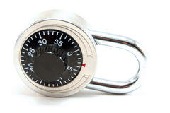 Combination lock. An isolated combination lock on whit background stock photos