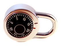 Combination Lock. A simple combination lock on white Royalty Free Stock Photo