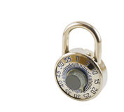Combination Lock. A combination lock isolated on white with clipping path Stock Photos