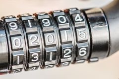 Combination lock for bicycle. Black combination lock for bicycle, digit in 2015 royalty free stock photo