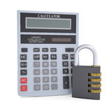 Combination lock and calculator Stock Photos