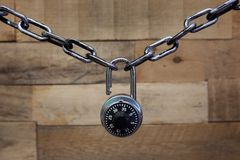 Combination lock and chain Stock Photos