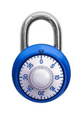 Combination Lock Closed. Closed Blue Combination Lock Isolated on White Background Stock Image