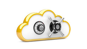 Combination lock and cloud. Security concept. Combination lock and cloud. 3D image on white vector illustration